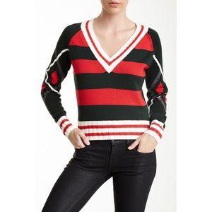 L.A.M.B. Red & Green Striped Argyle Preppy Sweater